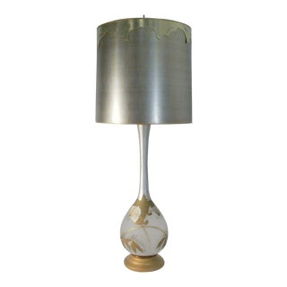 1960s Mid Century Torchiere Lamp With Shade Frosted Glass and Gold Butterflies With Shade For Sale
