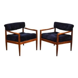 Adrian Pearsall Navy Blue Lounge Chairs - a Pair For Sale