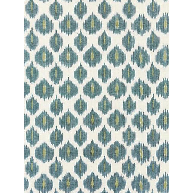 Boho Chic Scalamandre Amara Ikat Weave, Peacock Fabric For Sale - Image 3 of 3