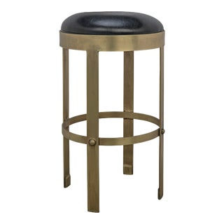 Prince Counter Stool with Leather in Brass Finish For Sale
