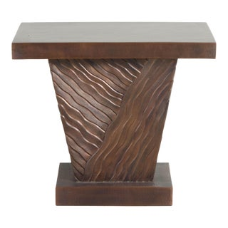 Antique Copper Hand Repousse Diagonal Cascade Design Side Table by Robert Kuo, Limited Edition For Sale