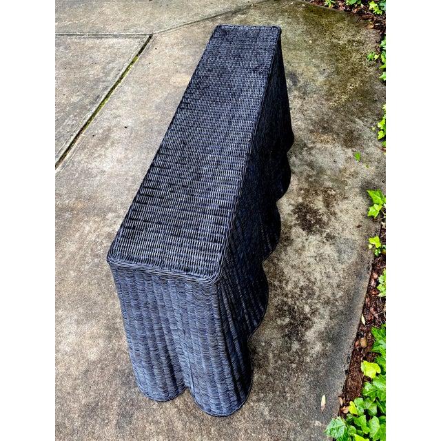 Natural Rattan Trompe l'Oeil Console Tables in Black For Sale In Atlanta - Image 6 of 13