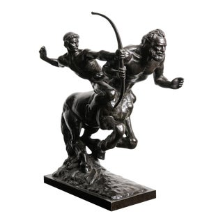 "Classical Bronze Sculpture by French Sculptor Pierre Traverse - ""Archer & Centaur"" For Sale"