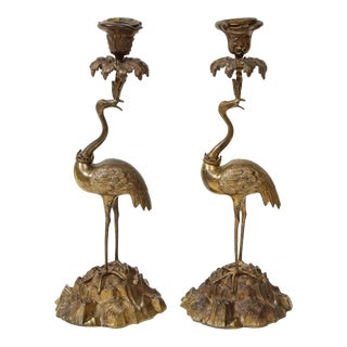 Pair of Gilt Bronze Ostrich Candlesticks For Sale