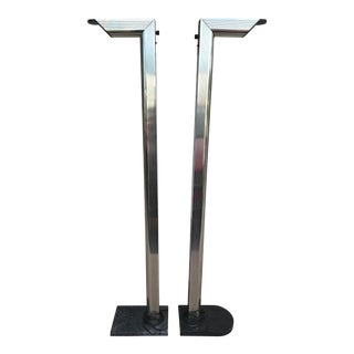 1970s Mid Century Modern Gold Floor Lamps on Black Marble Bases - a Pair For Sale