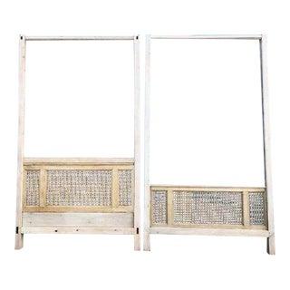 Antique Wood Square Lattice 4 Post King Headboard & Footboard For Sale