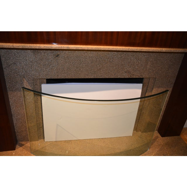 Green Custom Curved/Bowed Glass Fireplace Screen For Sale - Image 8 of 11