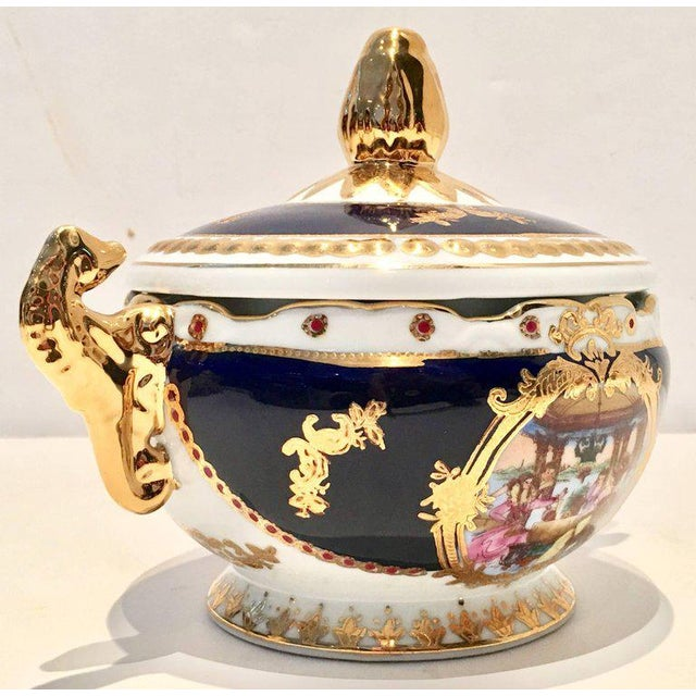 Vintage French Sevres Style Limoges Cobalt and 22-Karat Lidded Jar - Image 3 of 9