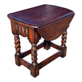 English Style Oak Drop Leaf Side Table For Sale