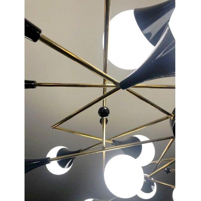 Metal Bespoke Italian Geometric White Glass Black Lacquered Brass 24-Light Flushmount For Sale - Image 7 of 9
