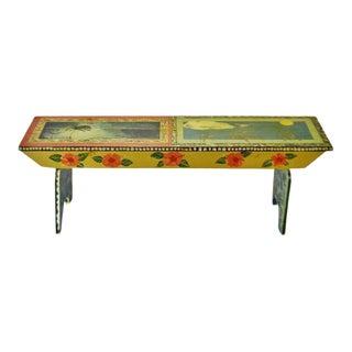Vintage Peter Hunt Style Folk Art Hand Painted Bench For Sale