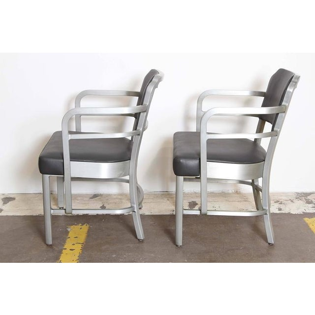 Art Deco Pair of Machine Age Art Deco Leather GoodForm Armchairs Brushed Aluminum For Sale - Image 3 of 11