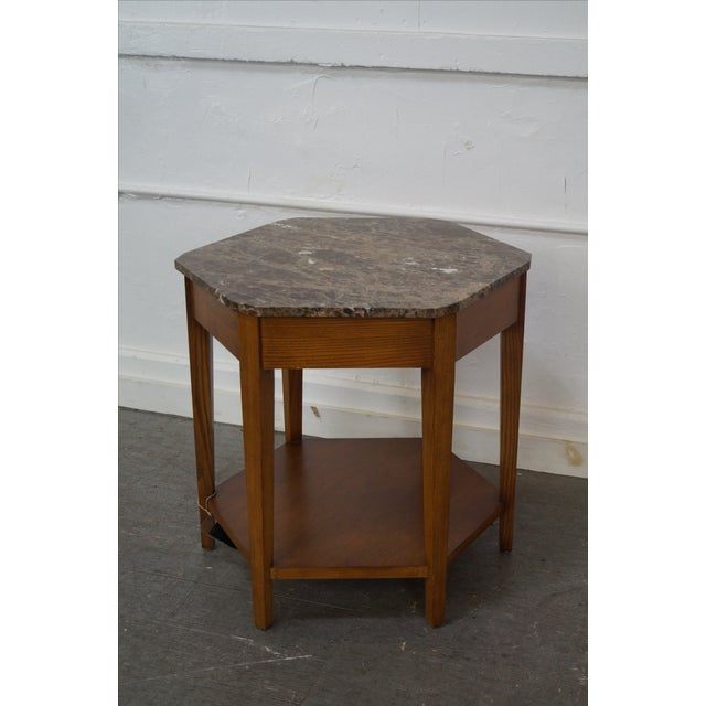 Harden Hexagon Marble Top Oak Base Side Table Chairish - Hexagon marble coffee table