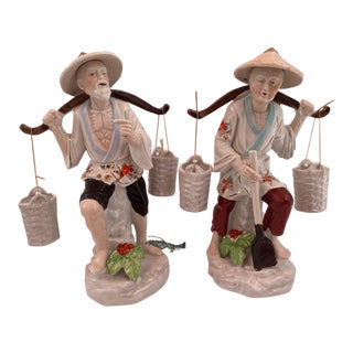 Vintage Chinese Fisherman Couple Porcelain Figurines - Set of 2 For Sale