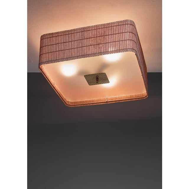 Mid-Century Modern Paavo Tynell wood and glass flush mount, Finland For Sale - Image 3 of 4