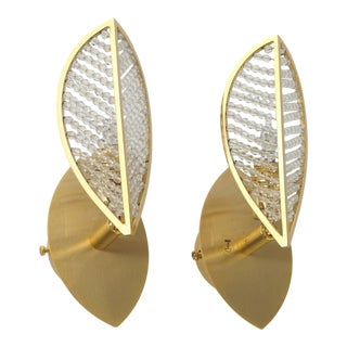 """C. 1970's Mid Century Modern 24k Gold Small Crystal Beaded Sconces by """"Palwa"""" - Pair For Sale"""