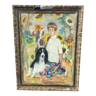 """Boy and His Dog"" Oil Portrait Painting by Ouida Greorge For Sale"