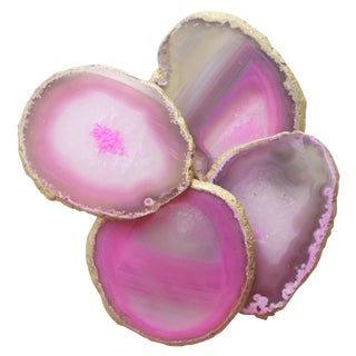 Pink Polished Gold Rim Agate Coasters - Set of 4