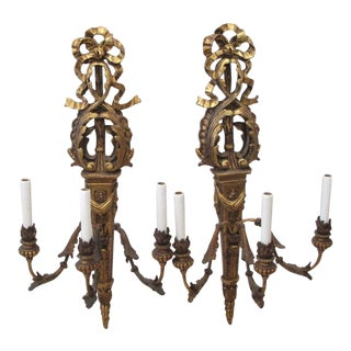 "Huge 39"" Neoclassical Architectural Plaster Sconces - Turn of the 19th Century Pair 39"" High For Sale"
