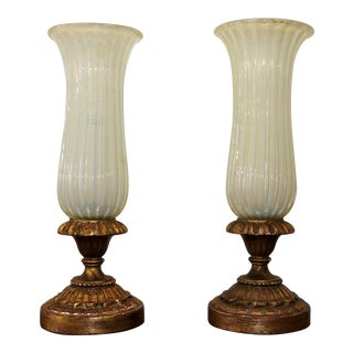Murano Glass Table Lamps W/ Gold Leaf Base - a Pair