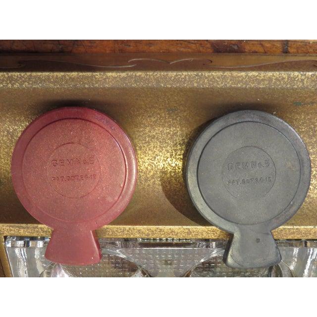 Gold Antique Art Deco Silver Crest Bronze Desk Inkwell For Sale - Image 8 of 11