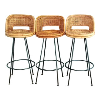1950s Rattan and Iron Swivel Barstools- Set of 3 For Sale
