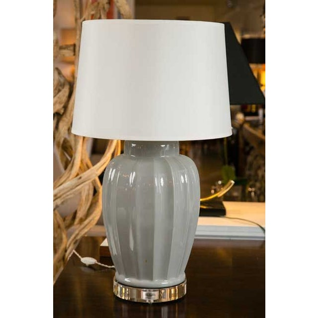 Mid-Century Squash Form Lamp on Lucite Base - Image 2 of 4