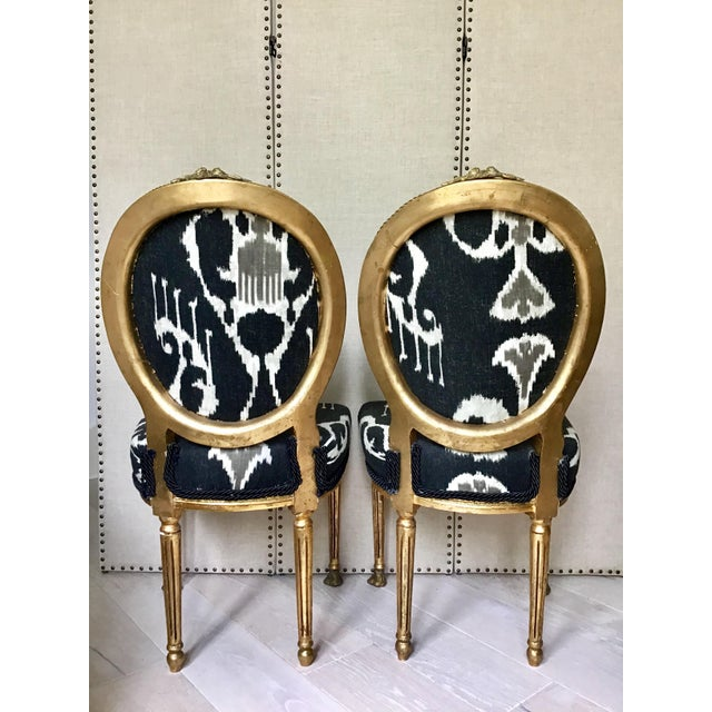 Mid Century Louis XVI Gilt Wood Ikat Chairs- a Pair For Sale - Image 4 of 8