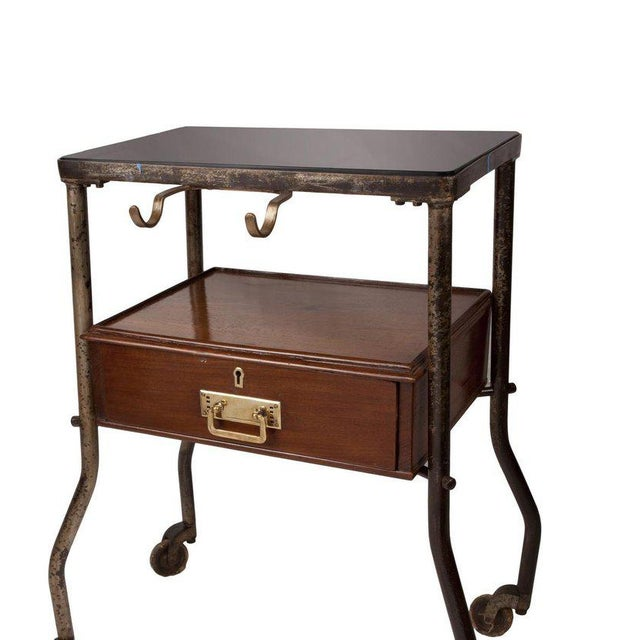 Ship's Teak and Smoked Glass Medical Trolley, Mid-1900s For Sale - Image 9 of 10