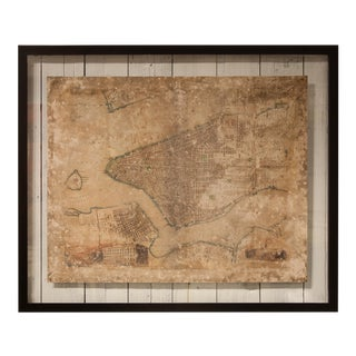 New York City Framed Map For Sale