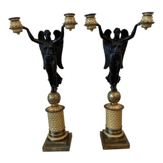 Pair of French Gilt and Bronze Figural Candelabra For Sale