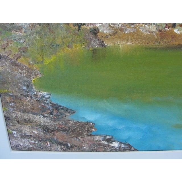 Vintage Harbor Impressionist Oil on Canvas Painting For Sale - Image 5 of 9