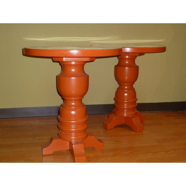 Pair of Architectural Mid-Century Modern Orange Lacquered Side Tables, 1960s For Sale - Image 4 of 11