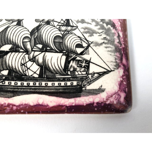 Staffordshire Sunderland Lustreware Porcelain Box With Sailor and Ship Theme For Sale - Image 9 of 12