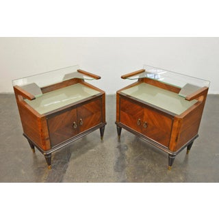 Pair of Italian Modern Two Tier Nightstands in Mahogany Preview