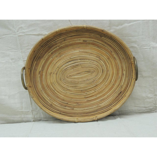 Metal Vintage Bent Oval Rattan Serving Tray With Antique Brass Finished Handles For Sale - Image 7 of 7