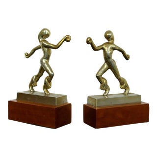 Mid Century Modern Pair of Robinwood Brass Figures Bookends Sculptures 1960s For Sale