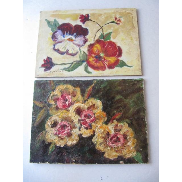 Vivid Vintage Flower Paintings- A Pair - Image 5 of 8