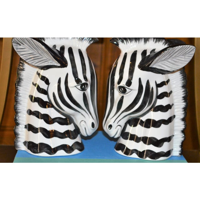 Fitz and Floyd 1970s Boho Chic Fitz & Floyd Porcelain Zebra Bookends - a Pair For Sale - Image 4 of 10