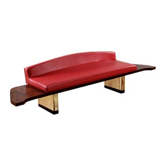 Mid-Century Modern Rosewood & Gold Bench