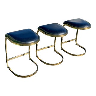1980s Vintage Brass Cantilever Cal-Style Bar Stools - Set of 3 For Sale