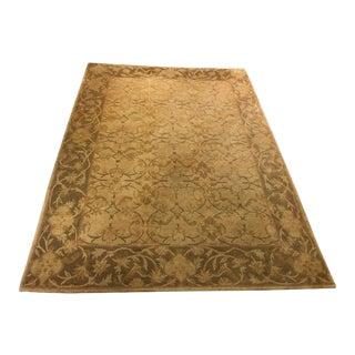 Neutral Luxurious Silk Tibetan Area Rug- 6′2″ × 8′11″ For Sale