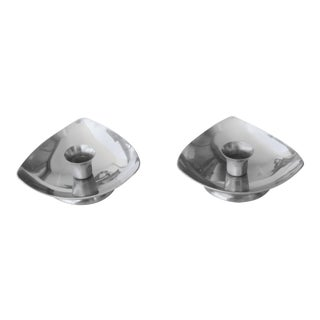 Final Markdown. Will Be Removed Jan 31s5...Mid-Century Danish Stainless Steel Candle Holders - a Pair For Sale