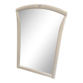 Vintage White Framed Decorative Mirror For Sale