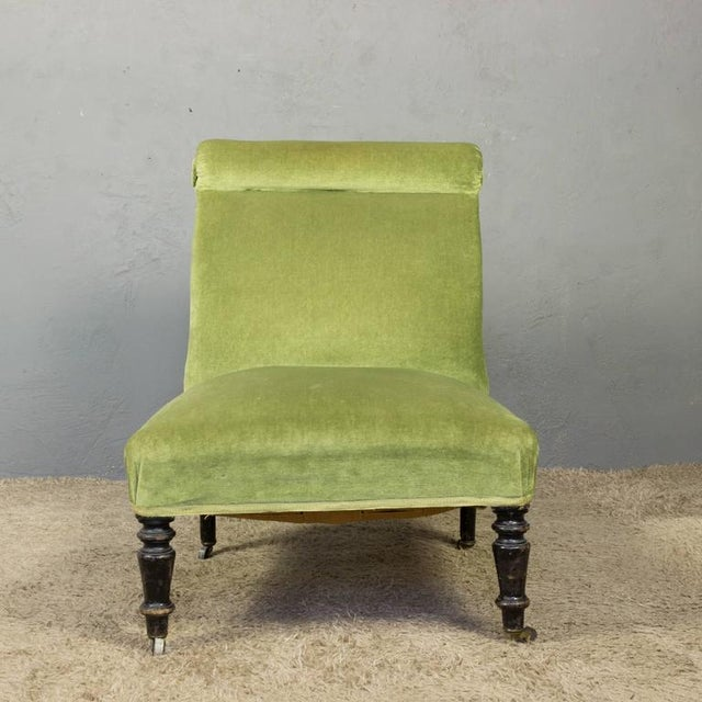 Napoleon III Slipper Chair in Green Velvet - Image 6 of 10