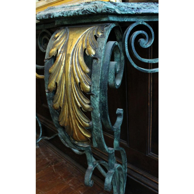 Mid 20th Century Scrolled Iron Marble Top Console Table For Sale - Image 5 of 8