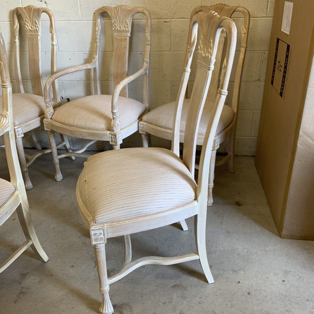 Bleached Wood Hand Carved Dining Chair's-A Set of 6 For Sale - Image 12 of 13