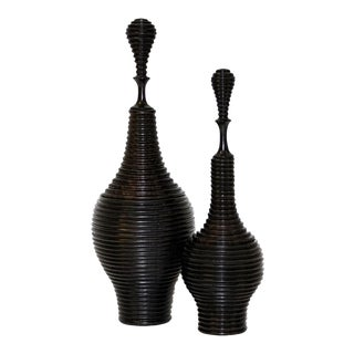 Mozambican Ebony Vessels - a Pair For Sale