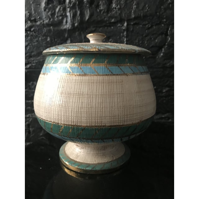 Blue Mid Century Bitossi Seta Collection Italian Sgraffito Pottery Container Jar by Aldo Londi For Sale - Image 8 of 8