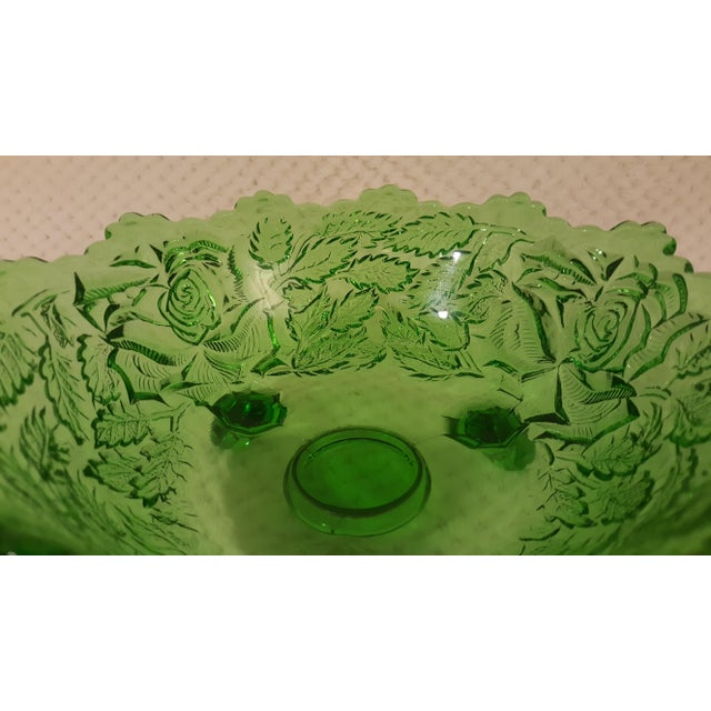 Emerald Rose Motif Tri Footed Bowl For Sale - Image 4 of 5